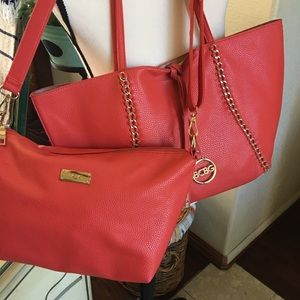 Reversible BCBG tote and crossbody